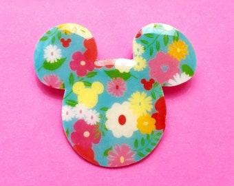 "Summer Time Collection ""Summer Floral Mouse"" Aqua Teal Floral Print Mouse Pin"
