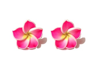 "Summer Time Collection - ""Pretty Plumeria"" Earrings Tiki Hawaiian Themed - Pink Yellow and White"