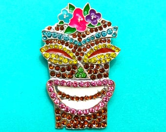 "Summer Time Collection ""Tiki Totem Sparkle"" Tiki Inspired Rhineston Brooch"