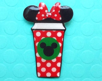 "Femme Foodie Collection ""Minnie Brew"" Starbucks Inspired Mnnie Mouse Coffee Cup Pin Polka Dots"