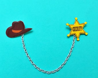 "Pixar Pals ""Woody The Sheriff"" Toy Story Inspired Collar Clips or Sweater Guards Sheriff Badge and Cowboy Hat"