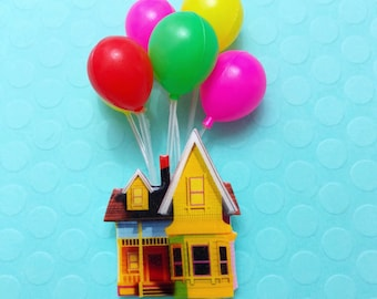 "Pixar Pals Collection ""UP House & Balloons"" Up Pixar Inspired House Brooch - Preorder - Will Ship in 7-10 business days"