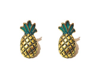 "Summer Time Collection ""Pineapple Pizazz"" Bronze Gold Enamel Pineapple Stud Earrings"