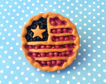 "Handmade ""Miss Americana Pie"" Cherry and Bluebery Pie Polymer Clay American Flag Brooch - Red White And Bloom Collection"