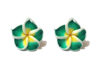 "Summer Time Collection - ""Pretty Plumeria"" Earrings Tiki Hawaiian Themed - Green and Yellow"