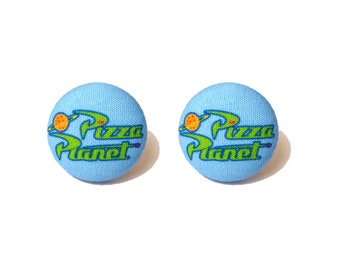 "Pixar Pals ""Pizza Planet"" Toy Story Inspired Fabric Button Earrings"