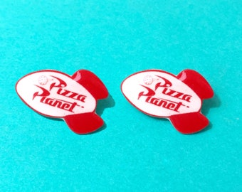 "Pixar Pals Collection ""Pizza Planet Rocket"" Toy Story Inspired Pizza Planet Logo Rocket Earrings"