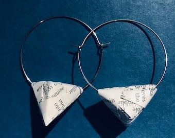 English Dictionary Modular Origami Hoop Earrings