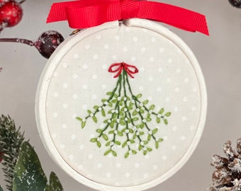 Hand Printed in Shropshire Ceramic Christmas Tree Ornament Mistletoe Christmas Decoration