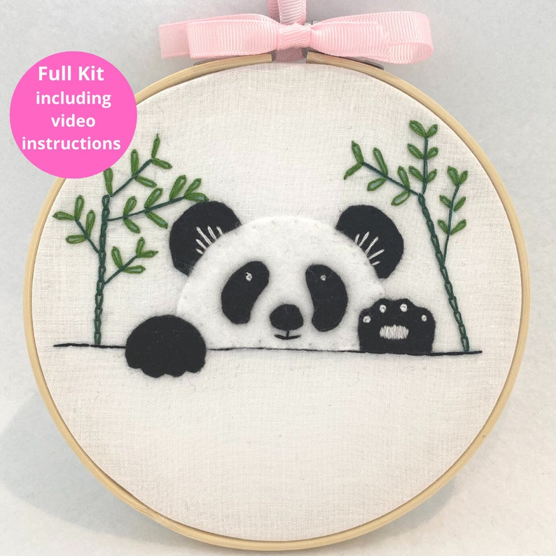 Panda Embroidery Kit Beginners embroidery Kids friendly image 0