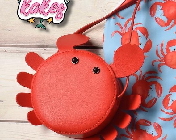 Girls Red Crab Crossbody Purse. Nautical Purse.  Kids Purse. Toddler Purse