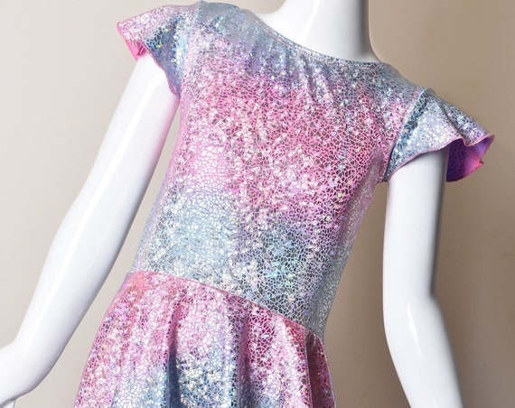Unicorn Metallic Party Dress . Cotton Candy High Low Birthday Dress. Mermaid Party Dress.