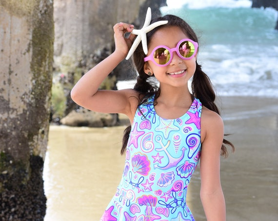 Girls Mermaid life Swimsuit.  Starfish, Shells and Anchor Mermaid Beach Racer Back Bathing Suit, With Open Back. Swim Skirt Not Included