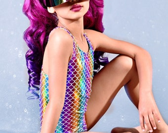 1e7bf11e8d Mermaid Rainbow Swimsuit. Metallic Racer Open Back One Piece Swimsuit.  Gymnastics, Dance and Swimwear