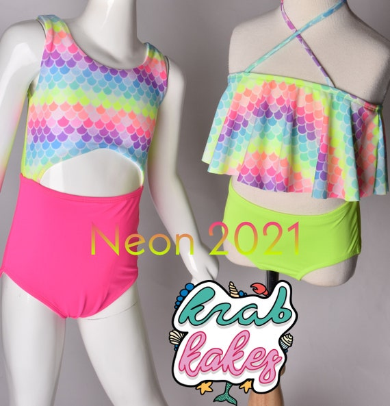 Girls Mermaid Neon Swimsuits. One Piece Cutout or  Flounce Bikini. Each sold separately