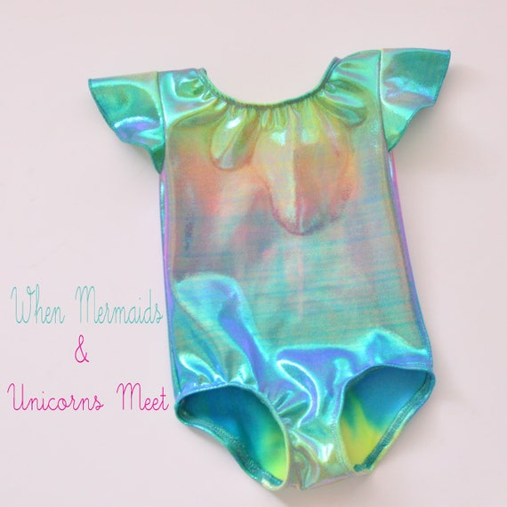 Girls Mermaid/Unicorn Flutter Sleeves Leotard. Metallic Mermaid Dance Leotard. Gymnastics Leotard