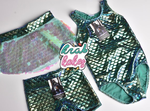 Girls Mermaid Metallic Green Swimsuit.  Optional Sequins Skirt or Shorts Add on Available