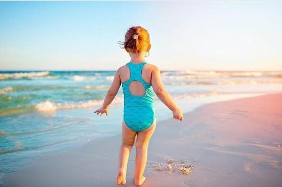 Girls Mermaid Aqua Swimsuit. Metallic Mermaid Racer Back Bathing Suit, With Open Back. One Piece Swim Suit, Gymnastics, Dance and Swim wear