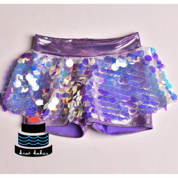 Metallic Mermaid/ Unicorn Sequins Skort.  Lilac Skirted Shorts