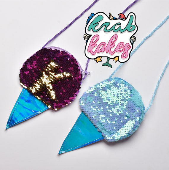 Girls Ice Cream Sequins Purse. Purple/Gold or Turquoise. Sold separately