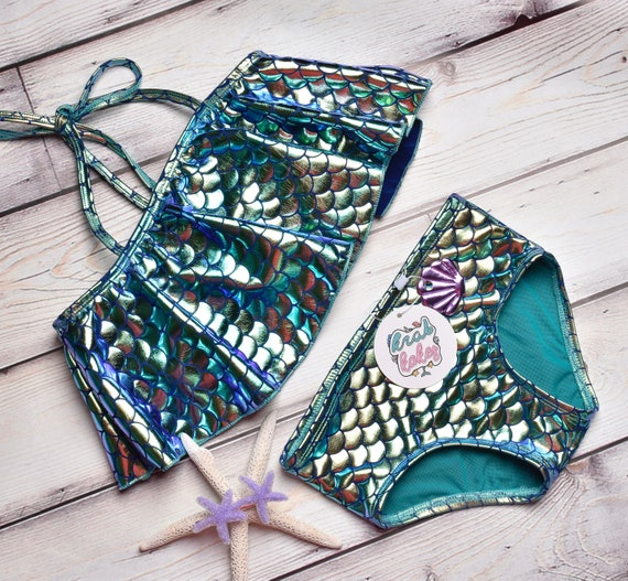 Girls Metallic Mermaid scales Two Piece Bikini.  Metallic Flounce Top and Classic Bikini Bottoms. Swimsuit Swim Party