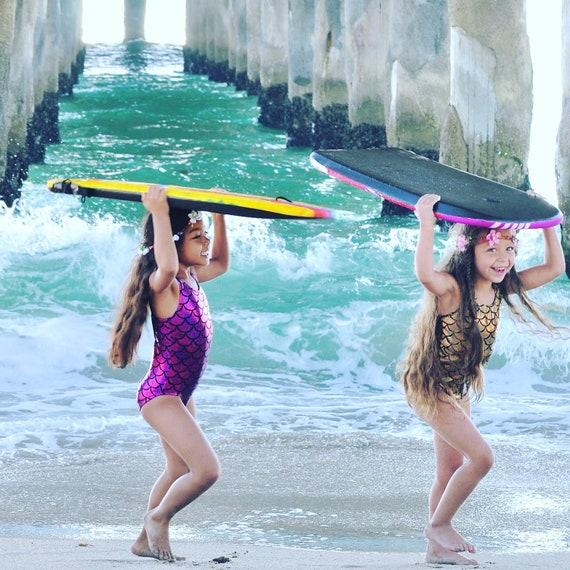 Girls Swimsuit. Metallic Mermaid Racer Back Bathing Suit, With Open Back. One Piece Swim Suit, Gymnastics, Dance and Swim wear