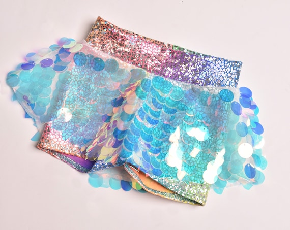 Metallic Mermaid/ Unicorn Sequins Skort.  Rainbow Skirted Shorts