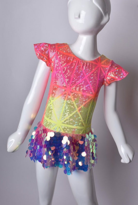 Mermaid/Unicorn Skirted Metallic Sequins Leotard. Metallic Rainbow Leotard.