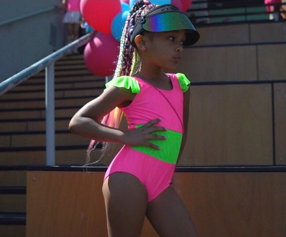 Neon Pink and Green Mesh Swimsuit