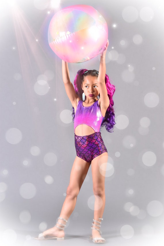 Girls Metallic Ombré  Swimsuit. Mermaid One Piece Cut Out Swimsuit, Dance Leotard.