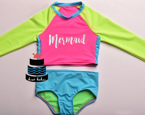 Girls Neon Rash Guard Mermaid Bikini. Toddler Bathing Suit. Two Piece Swim Suit. Surf Suit