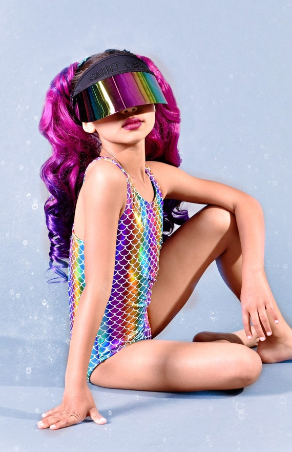 Mermaid Rainbow Swimsuit.  Metallic Racer Open Back One Piece Swimsuit.  Gymnastics, Dance and Swimwear