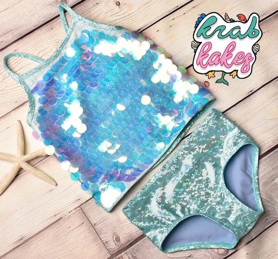 Girls Mermaid/ Unicorn  Sparkle Tankini.  Girls Swimwear.  Sequins Bikini.