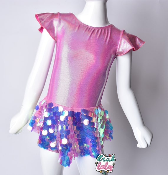 Mermaid/Unicorn Skirted Pink Hologram Sequins Leotard.