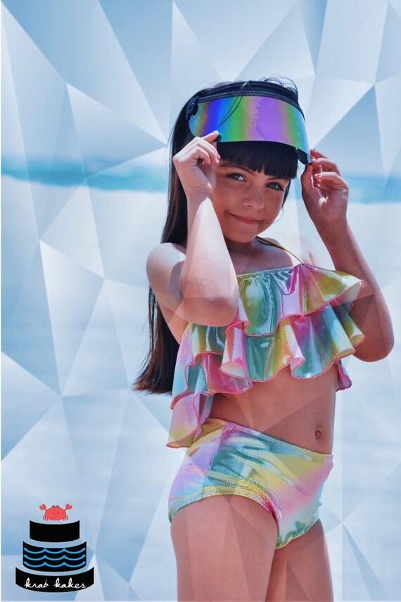 Swimsuit Swim Party Girls Metallic Mermaid scales Two Piece Bikini Metallic Flounce Top and Classic Bikini Bottoms