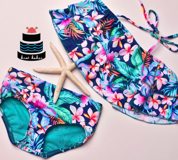 Girls Floral Bikini. Toddler Two Piece Floral Flounce Top and Classic Bikini Bottoms. Swimsuit Swim Party