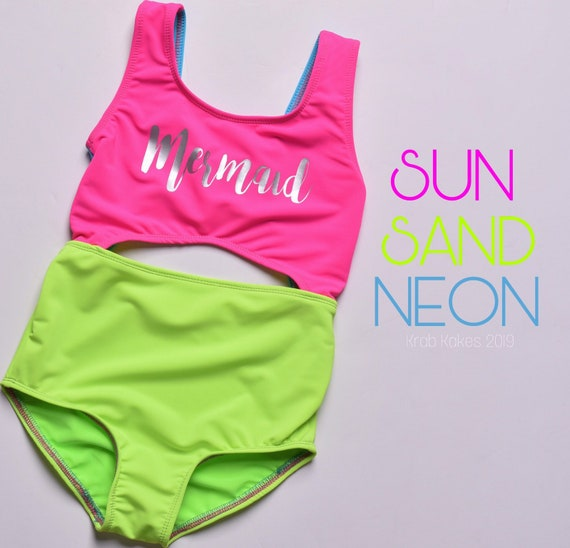 Girls Neon Swimsuit. Mermaid cutout one piece swimsuit.