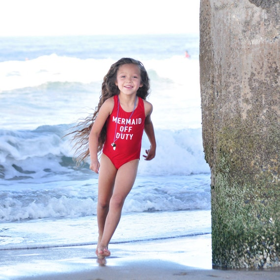 Girls Red Swimsuit. Mermaid Off Duty Racer Back Bathing Suit.  Open Back One Piece Swimsuit. Gymnastics  Dancewear