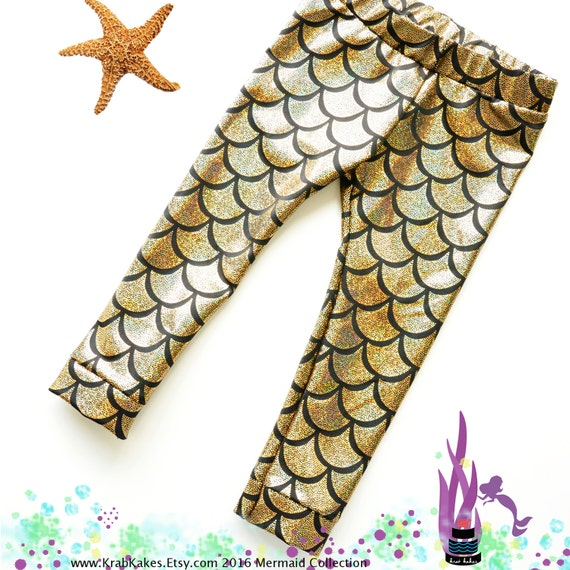 Girls Gold Metallic Mermaid Leggings. Baby Leggings. Toddler Leggings Fish scale leggings. Dance and Gymnastics