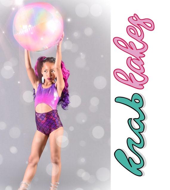 Girls Metallic Mermaid Swimsuit. Mermaid One Piece Cut Out Swimsuit, Dance Leotard. Purple Pink Mermaid swimsuit.