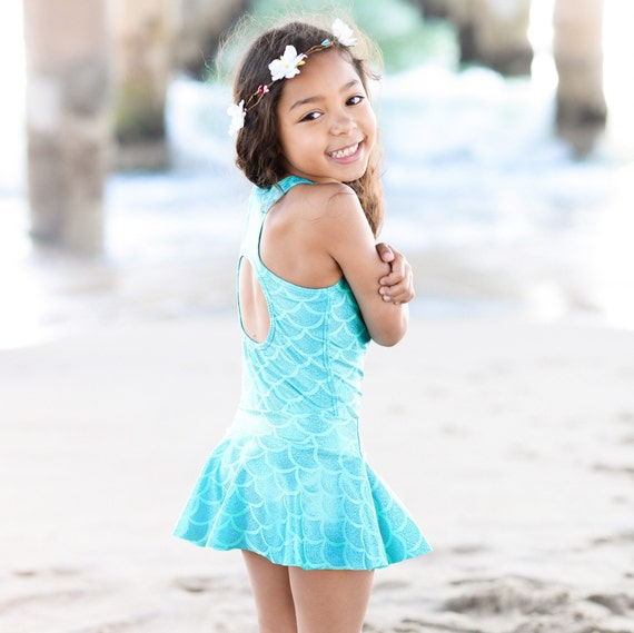 Girls Metallic Mermaid Swimsuit or Leotard. Mermaid Birthday Party. Swimsuit only (Swim skirt not included)