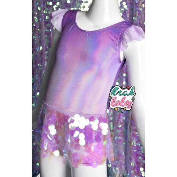 Girls Purple Mermaid Metallic Sequins swimsuit. Unicorn Mermaid Party.