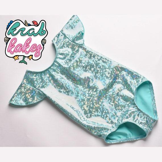 Girls Sparkle Unicorn Leotard.  Sea Green Sparkle Leotard. Mermaid Leotard.