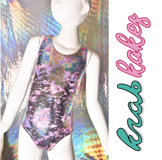 Girls Metallic Leotard. Metallic Racer Back One-Piece distressed.  Gymnastics, Dance and Swimwear. Girls Activewear. Skirt sold Separately.