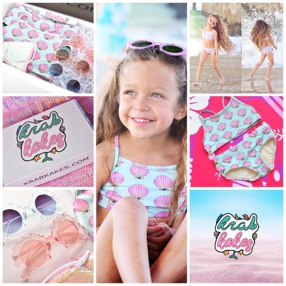 Girls Seashell Bikini Gift Box Set, Bikini, sunglasses, and a Personalized Purse