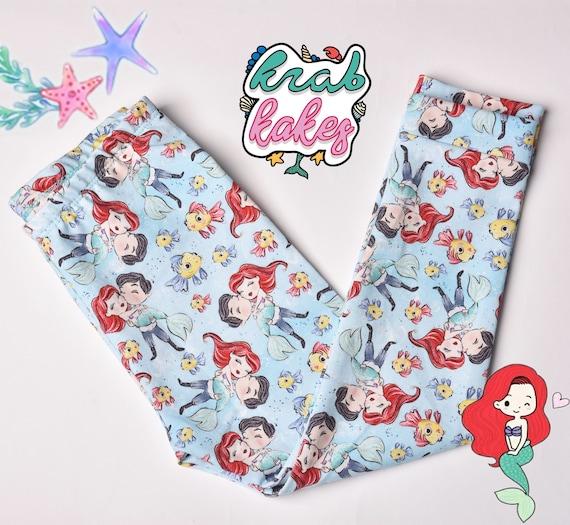 Girls Cotton Leggings.Princess Mermaid In Love Fairytale Cotton Leggings. Valentine's Day Leggings. Baby And Toddler Sizes.