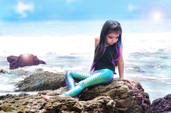 Girls Metallic foil Green/ Blue Mermaid Leggings. Baby Leggings. Toddler Leggings Fish scale leggings. Dance and Gymnastics