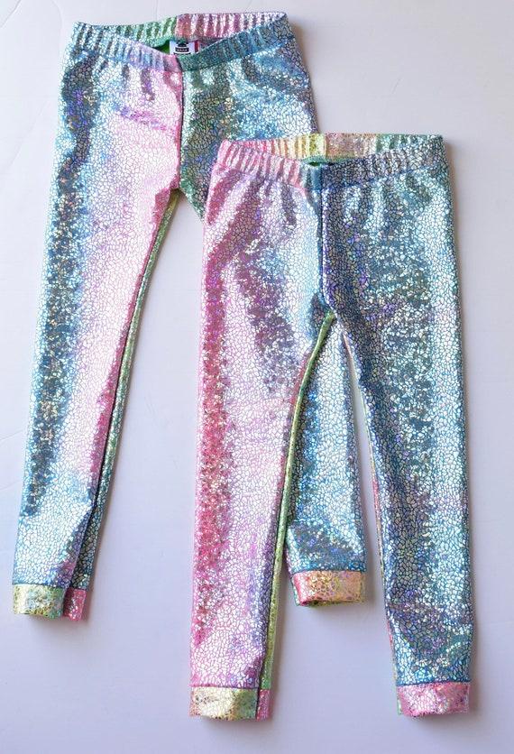 Girls Metallic Unicorn Rainbow Leggings. Dance and Gymnastics