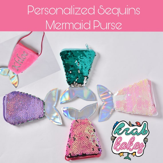Personalized Girls Mermaid Coin Purse. Sequins purse