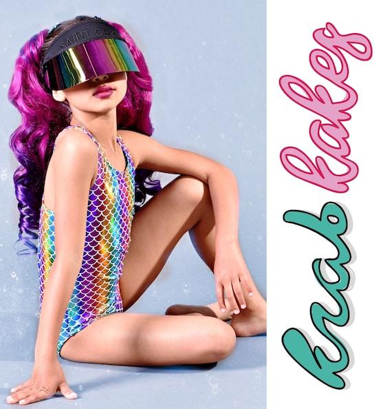Girls Mermaid Rainbow Swimsuit.  Metallic Racer Open Back One Piece Bathing Suit.  Gymnastics, Dance and Swimwear